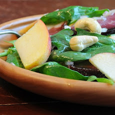 Baby Spinach Salad with Apples, Cashews and Prosciutto