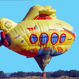 Submarine hot air balloon by Walter Carlson - Transportation Other ( hot air balloon, albuquerque, festival, travel, yellow, submarine, new mexico,  )