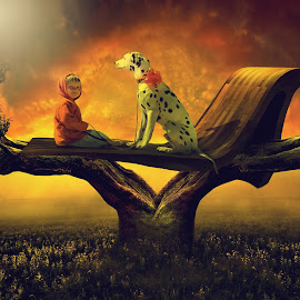 With My friend by Sakura Art - Digital Art Things ( child    dalmantion      tree     sky    sunrise       happy )