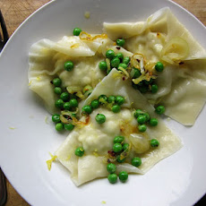 Lemon Artichoke Ravioli with Chili and Baby Peas
