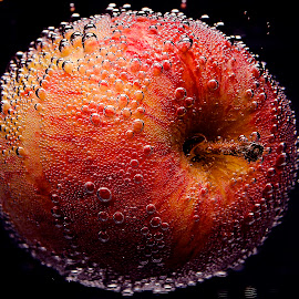 An apple in the abyss by Roman Kolodziej - Food & Drink Fruits & Vegetables ( water, fruit, red, dropped, fresh, apple, oxygene, abbys, bulbs, darkness, Food & Beverage, meal, Eat & Drink )