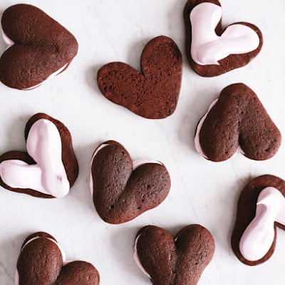 Whoopie Hearts with Raspberry Meringue