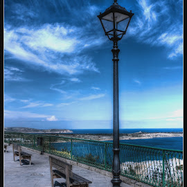 Lamp Post by Mario Borg - City,  Street & Park  Street Scenes ( clouds, bench, hdr, street, lamp post,  )