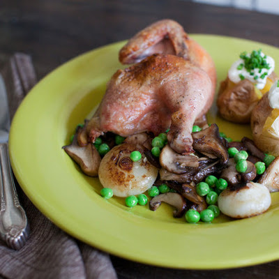 Roast Cornish Hen with Mini Baked Potatoes & Spring Vegetable Saute