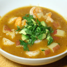 Shrimp and Chipotle Soup with Tomato, Tomatillo, and Potato