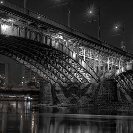 by Radosław Jankowski - Buildings & Architecture Bridges & Suspended Structures ( lights, poniatowski, night, bridge, warsaw )