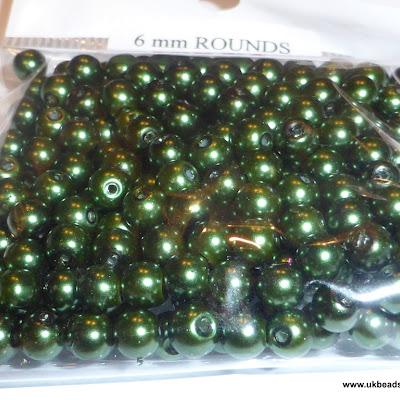 Dark Green 6mm round glass beads x 250