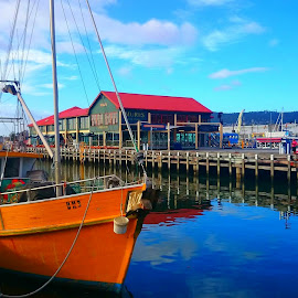 Fishing boat in dock by Greg Faull - Transportation Boats ( tasmania, fishing, boat, timing, stunning )