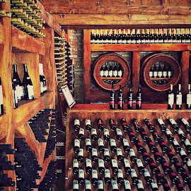Georgian Wine Cave by Tamsin Carlisle - Food & Drink Alcohol & Drinks ( wine, republic, europe, cellar, wood, brick, georgia, rack, cave, bottle, soviet, barrel, storage, tunnel )