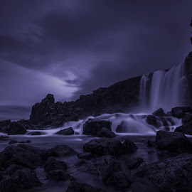 Unleashed Power through the Ages by Daniel Herr - Landscapes Waterscapes ( öxarafoss, wilderness, iceland, volcano, lava, waterfall, stones, landscape, long time exposure )