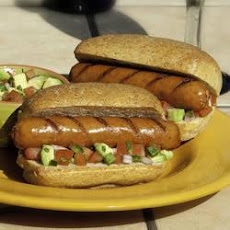 CheddarWurst® Topped with Fresh Avocado Salsa