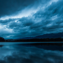 The Blue Hour at Rainy Lake by Leon Kauffman - Landscapes Cloud Formations ( clouds, reflection, montana, lake, swan valley )