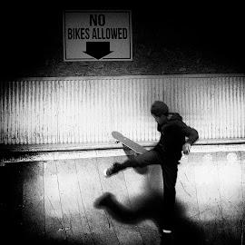 No Bike by Alan Roseman - Sports & Fitness Skateboarding ( skate, street life, black and white, city life, skateboard,  )