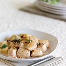 Hazelnut-Sage Chicken with Ravioli