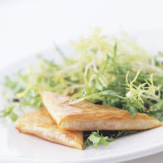 Goat Cheese and Red Pepper Phyllo Triangles with Olive Frisée Salad