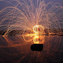 Fire Reflection by Karthi Keyan - Abstract Light Painting ( abstract, reflection, steel wool, fire )