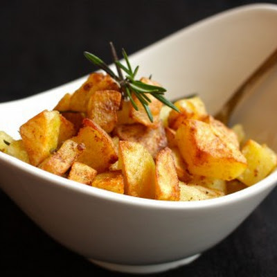 Roast Potatoes Two Ways: Polenta-Crusted with Rosemary & Garlic