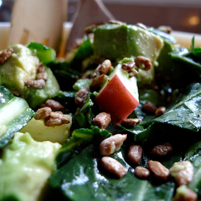 Massaged Kale Salad with Radish, Apple, Avocado, and Roasted Sunflower Seeds