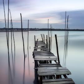 Winter Colors by Ricardo  Guimaraes - Landscapes Waterscapes ( time, winter, pier, long exposure, quiet, portugal, reflexions, landscape, river )