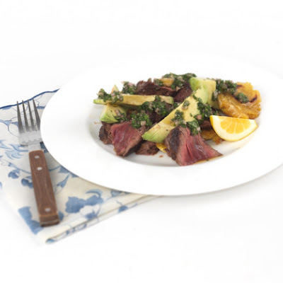 Hanger Steak with Salsa Verde and Plantains