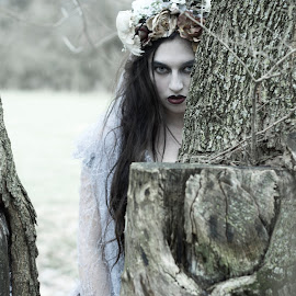 Hiding From You by Laura Dark - People Portraits of Women ( gothic, tree, goth, white, bride )