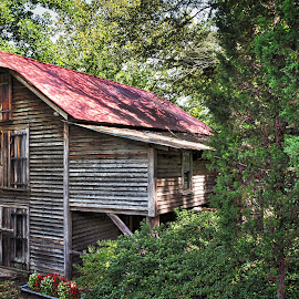 Old Gilliam Mill by Lou Plummer - Buildings & Architecture Other Exteriors ( mill, autumn, tin roof, restored, mill stone )