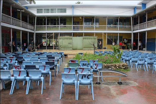 Our lovely set in the main quad of Nauru College, Nauru. Nauru is the smallest country in the Pacific and the third smallest nation state in the world behind only Vatican City and Monaco.