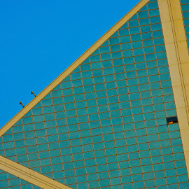 Windows by Mike O'Connor - Buildings & Architecture Office Buildings & Hotels ( triangle, blue, windows, hotel, open green )
