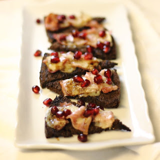 Gruyere & Ham Toasts with Pomegranate Balsamic Drizzle