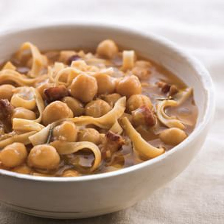 Tagliatelle and Chickpea Soup with Pancetta Recipe | Yummly