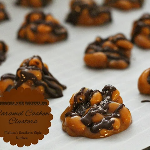 Chocolate Drizzled Caramel Cashew Clusters