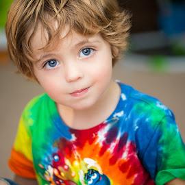 Tie-Die by Mike DeMicco - Babies & Children Child Portraits ( child, dye, tiedye, tie-dye, niko, blue, tie, cute, handsome, boy, hair, eyes )