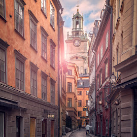 Beautiful Stockholm by Aku Pöllänen - City,  Street & Park  Street Scenes ( clouds, sweden, sky, stockholm, church, old district, color, beautiful, street, d7000, sunrise, nikon )