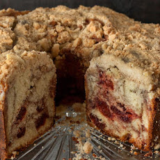 Port-Cherry Swirled Coffee Cake with Almond Streusel