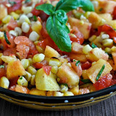 Grilled Corn, Peach and Basil Salsa