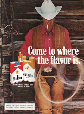 There is no real connection between smoking cigarettes and a cowboy