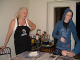 """Kathy and Chantel supervising the """"kids"""" dying the eggs."""