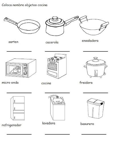 Partes de la cocina dibujos colorear for Precios de articulos de cocina