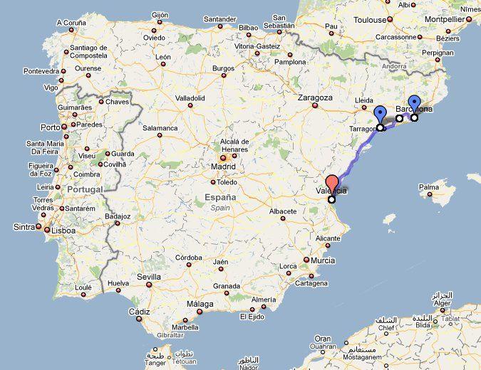 Наш маршрут движения по Испании