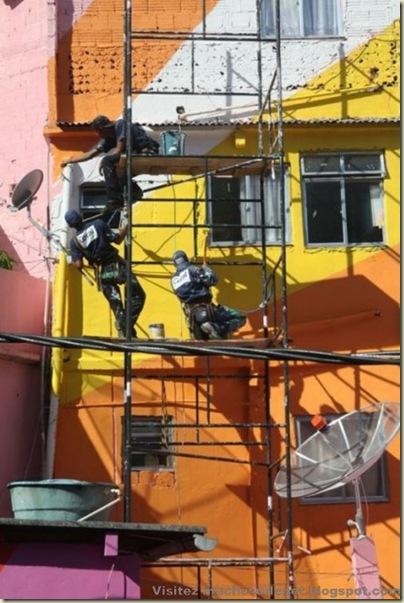 Repeindre les favela, Santa Marta, Brésil-15