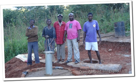 The team, from right to left: Yolam Kamanga (Maintenance Assistant/Builder), Foster Longwe (Supervisor), Name Here (Village Headman), Name Here, Name Here