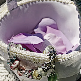 Bracelet and Basket by Catherine Melvin - Wedding Other ( precious memories, white on white, charm bracelet, white basket, purple flower petals )