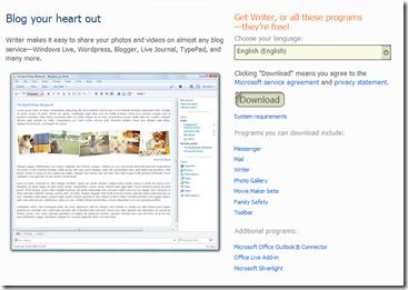 Writer - Windows Live