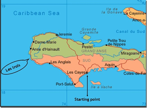 Map of Haiti, Cayes to Les Irois