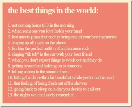The Best Things in the World
