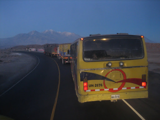 Buses on their way to Arequipa