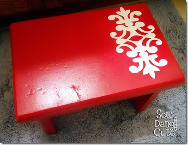 Stenciled-Footstool