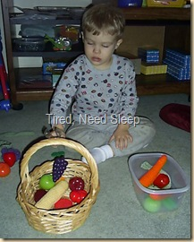 sorting fruits and veggies