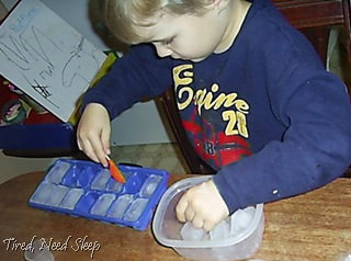placing ice in a container