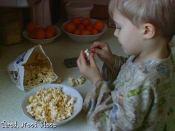 stringing popcorn